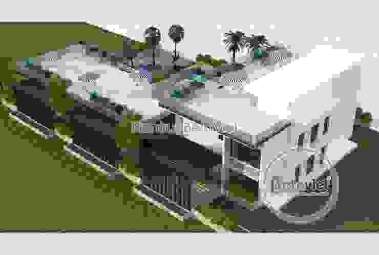 Phối cảnh mẫu thiết kế biệt thự hiện đại 3 tầng đẹp KT17033 bởi Công Ty CP Kiến Trúc và Xây Dựng Betaviet