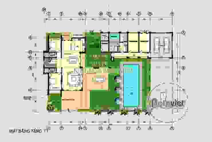 Mặt bằng mẫu thiết kế biệt thự hiện đại 3 tầng đẹp KT17033 bởi Công Ty CP Kiến Trúc và Xây Dựng Betaviet