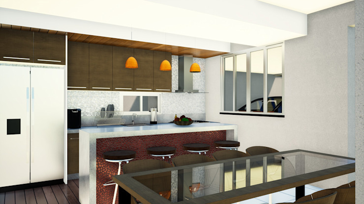 Arantes Arquitetura Kitchen Granite Wood effect