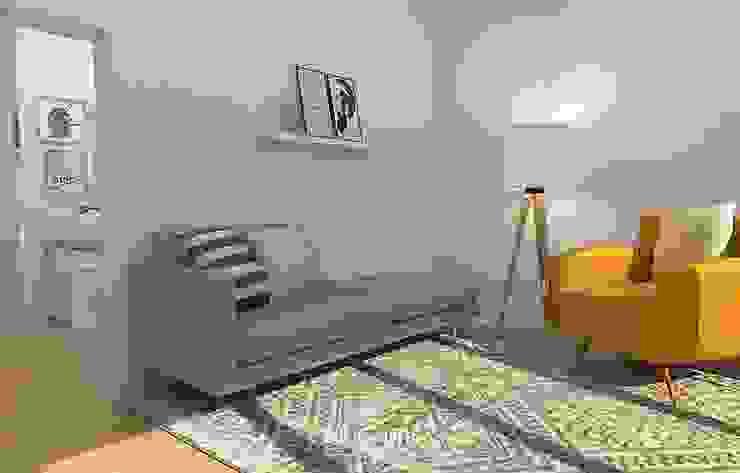 Ruang Studi/Kantor Gaya Skandinavia Oleh Bhavana Skandinavia