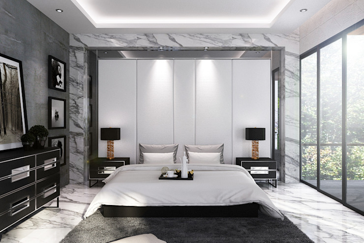 Headboard Backdrop Master room Kamar Tidur Modern Oleh Lighthouse Architect Indonesia Modern