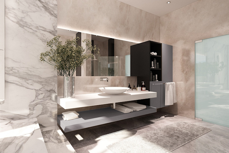 Master Bathroom Kamar Mandi Modern Oleh Lighthouse Architect Indonesia Modern