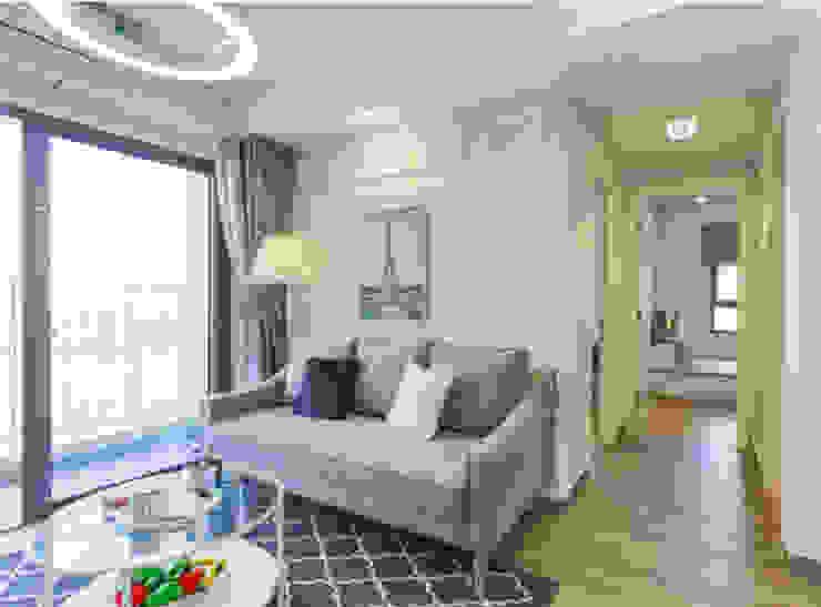 Căn Hộ 65m2 Nhỏ Đẹp Nhờ Thiết Kế Nội Thất Thông Minh:  Phòng khách by Công ty TNHH Xây Dựng TM – DV Song Phát