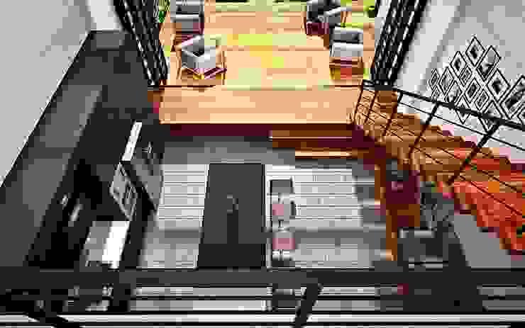 Teras Taman Belakang Balkon, Beranda & Teras Modern Oleh Lighthouse Architect Indonesia Modern