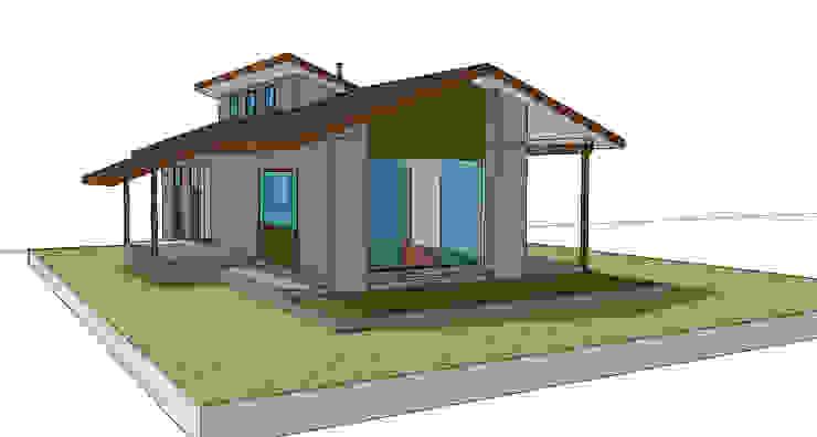 Fachada oriente. Modelo preliminar de casa rural - Arquitectos en Coyhaique Rural