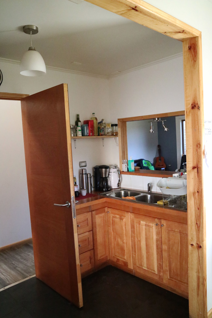 Vista interior cocina de casa rural - Arquitectos en Coyhaique Rural