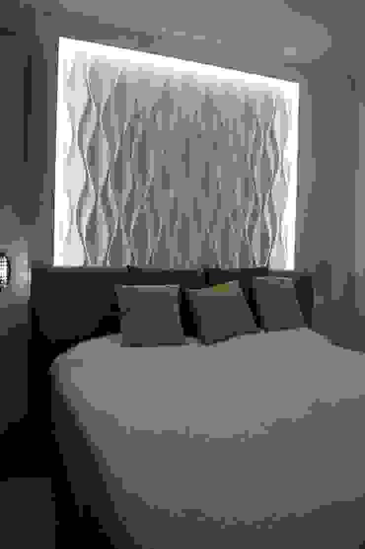 Schlafzimmer Wandgestaltung mit 15D Effekt und Betonlook de Loft