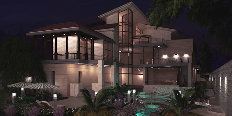 Night Shot Modern Houses by SPACES Architects Planners Engineers Modern