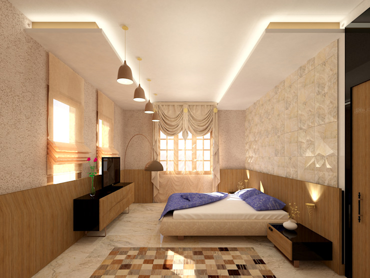 Interior shot Mediterranean style bedroom by SPACES Architects Planners Engineers Mediterranean