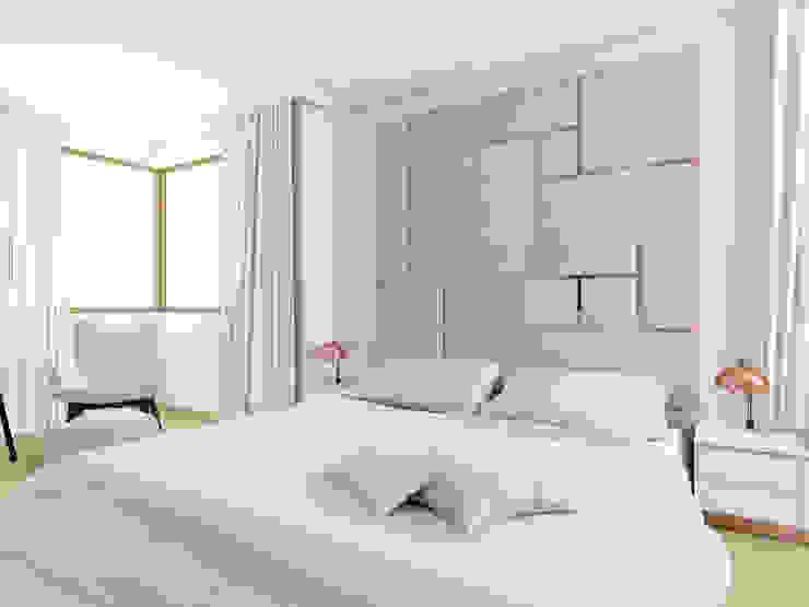 Pudrowy róż w sypialni Skandynawska sypialnia od Esteti Design Skandynawski Miedź/Brąz/Mosiądz