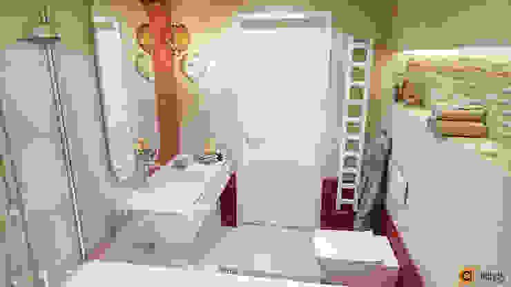 Санузел для детей в красном и бежевом цвете Ванная комната в стиле минимализм от Artichok Design Минимализм