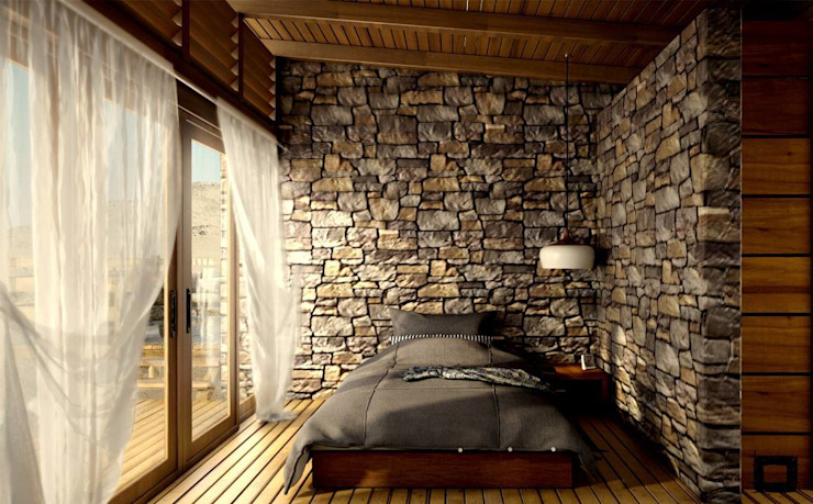 homify Rustic style bedroom Stone Transparent