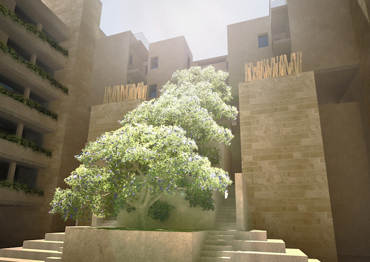 Bambo planting in the courtyard Modern Houses by SPACES Architects Planners Engineers Modern