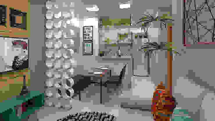 Ambiente integrado Salas de estar industriais por Plano A Studio Industrial