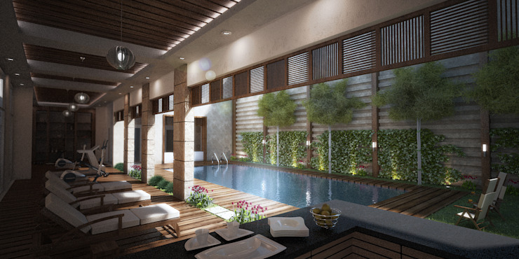 Pool and Gym by SPACES Architects Planners Engineers Mediterranean