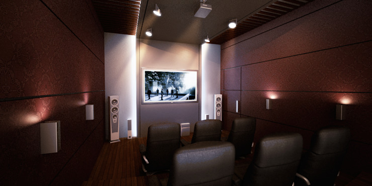 Home Theater by SPACES Architects Planners Engineers Mediterranean
