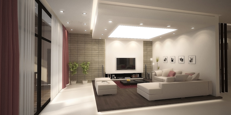 Basement Family Room by SPACES Architects Planners Engineers Mediterranean