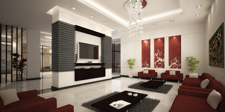 Basement Living Room by SPACES Architects Planners Engineers Mediterranean