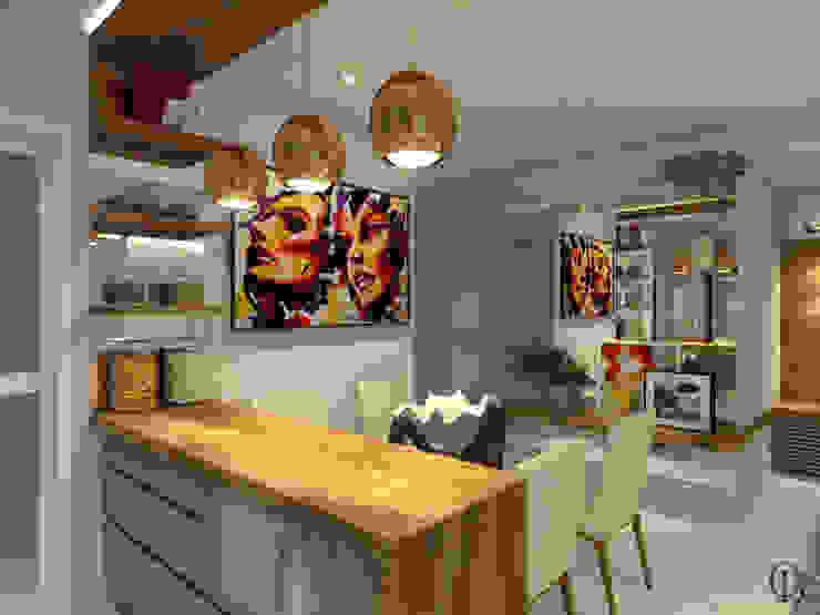 Vista Lateral I Ilha Cozinha por Caroline Berto Arquitetura Moderno Madeira maciça Multi colorido