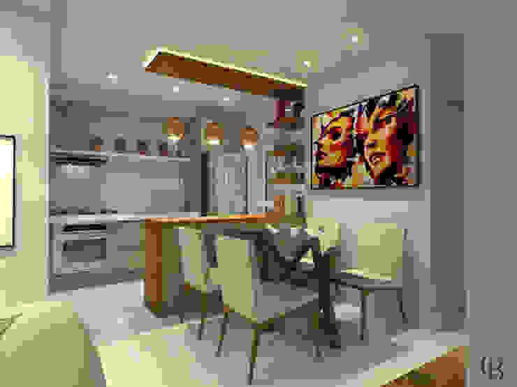 Vista Lateral I Cozinha + Sala de Jantar Salas de jantar modernas por Caroline Berto Arquitetura Moderno MDF