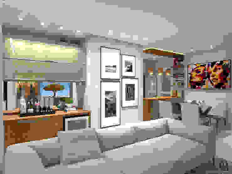 Vista Lateral I Sala de Televisao + Adega Salas de estar modernas por Caroline Berto Arquitetura Moderno MDF
