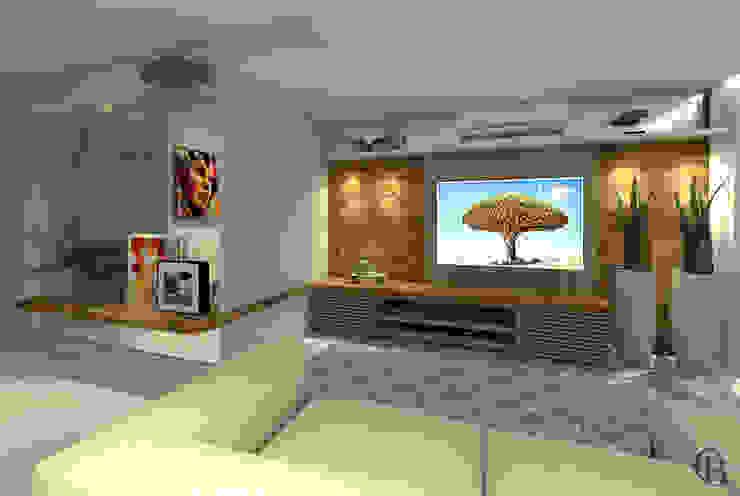 Vista I Sala de Televisão Integrada por Caroline Berto Arquitetura Moderno MDF