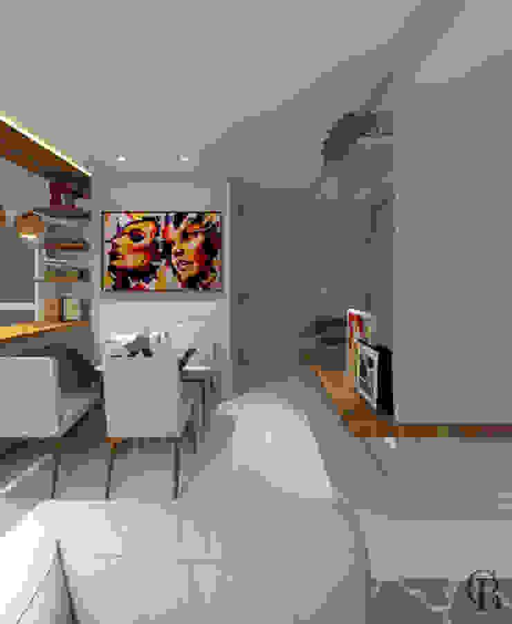 Vista Lateral I Área Social Salas de estar modernas por Caroline Berto Arquitetura Moderno MDF