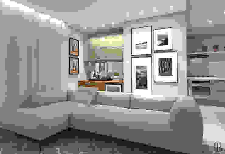 Vista Lateral I Sala de Televisão + Adega por Caroline Berto Arquitetura Moderno