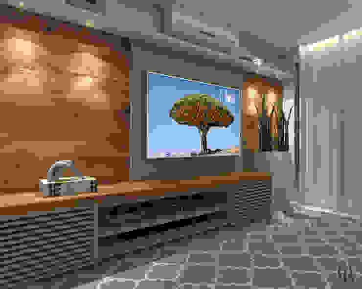 Vista Lateral l Sala de Televisão Salas multimídia modernas por Caroline Berto Arquitetura Moderno MDF