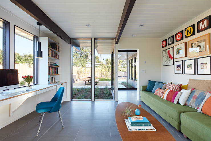 Mid-Mod Eichler Addition Remodel by Klopf Architecture Klopf Architecture Modern Study Room and Home Office
