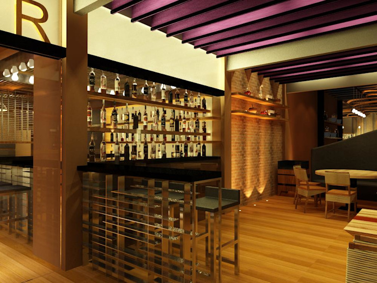 zitar restaurant Rustic style bars & clubs by Manohar Mistry & Associates Rustic