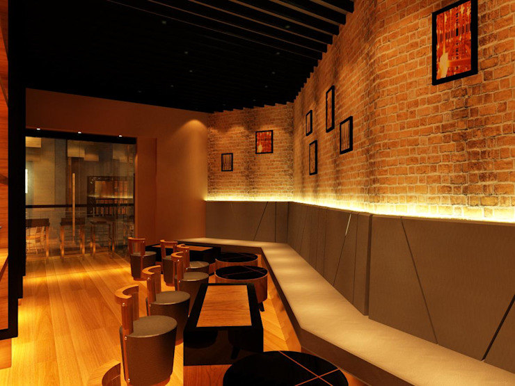 zitar restaurant Rustic style bars & clubs by Manohar Mistry & Associates Rustic Wood Wood effect