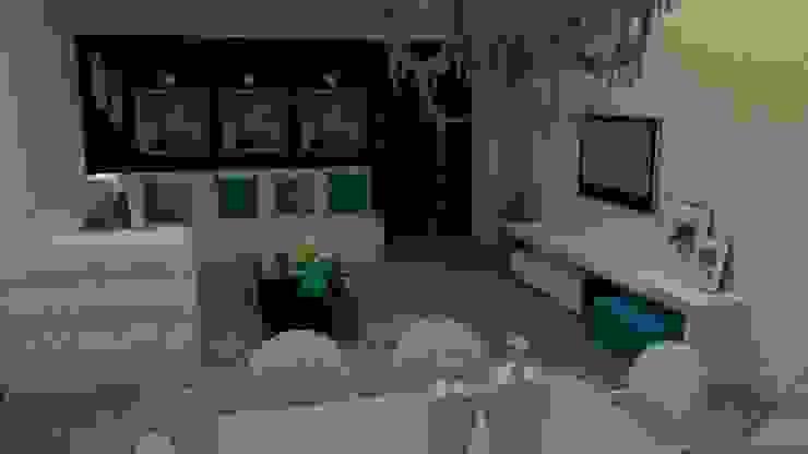 Detalhes em azul turquesa Modern Living Room by STUDIO SPECIALE - ARQUITETURA & INTERIORES Modern Engineered Wood Transparent