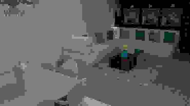 Sala com detalhes azul turquesa Modern Living Room by STUDIO SPECIALE - ARQUITETURA & INTERIORES Modern Limestone