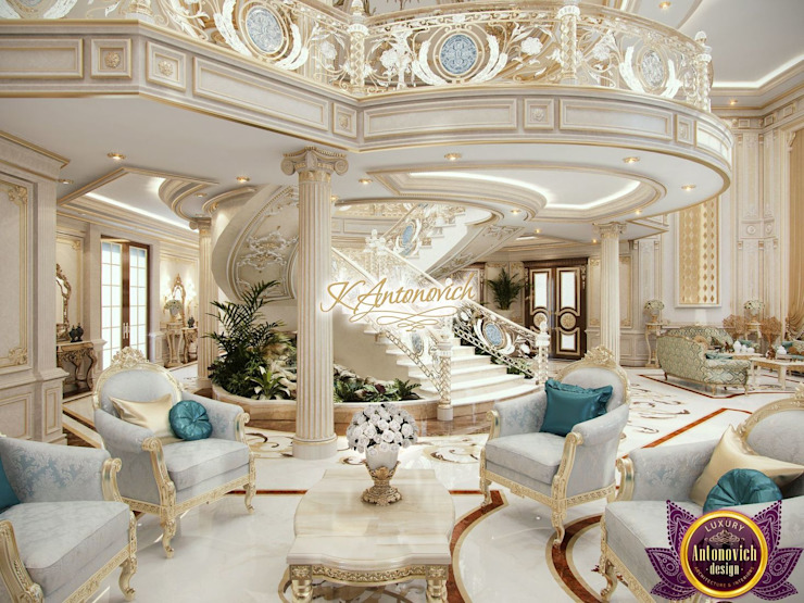 ​Best House designs by Katrina Antonovich Classic style corridor, hallway and stairs by Luxury Antonovich Design Classic