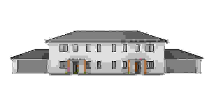 Doppelhaus Fassade renderslot Mehrfamilienhaus Stein Weiß