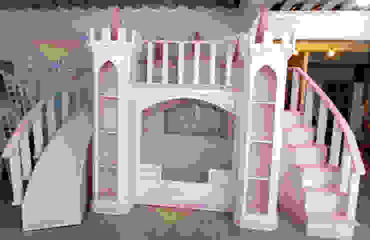 Espectacular castillo majestuso de camas y literas infantiles kids world Clásico Derivados de madera Transparente