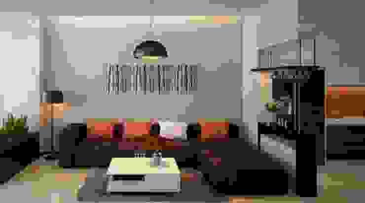 Phòng khách đơn giản ấm áp Phòng khách phong cách châu Á bởi Công ty TNHH TK XD Song Phát Châu Á Đồng / Đồng / Đồng thau