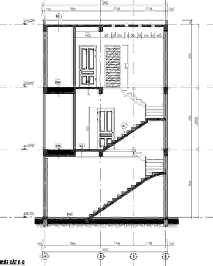 Bản vẽ nhà phố 3 tầng bởi Công ty TNHH TK XD Song Phát Châu Á Đồng / Đồng / Đồng thau