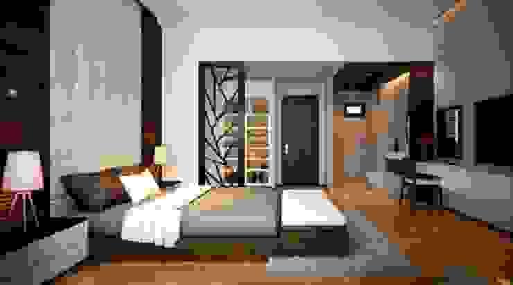 Không gian phòng ngủ tinh tế Phòng ngủ phong cách châu Á bởi Công ty TNHH TK XD Song Phát Châu Á Đồng / Đồng / Đồng thau