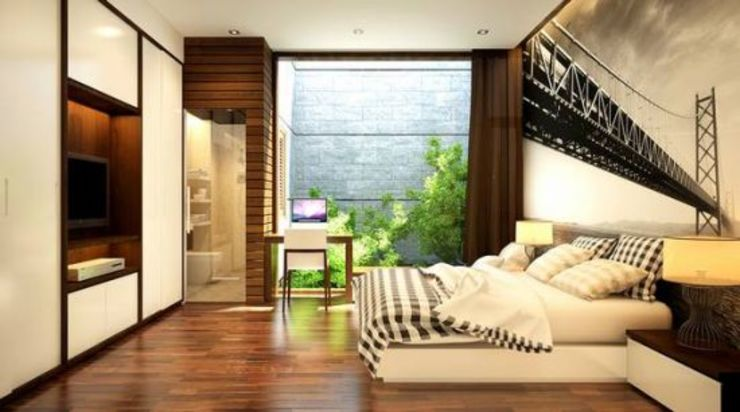 Không gian xanh mang đến sự thoải mái Phòng ngủ phong cách châu Á bởi Công ty TNHH TK XD Song Phát Châu Á Đồng / Đồng / Đồng thau
