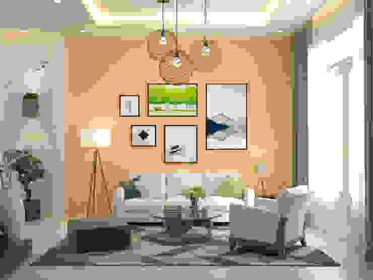 Màu sắc phòng khách vui tươi, tràn đầy năng lượng bởi Công ty TNHH Xây Dựng TM – DV Song Phát Hiện đại