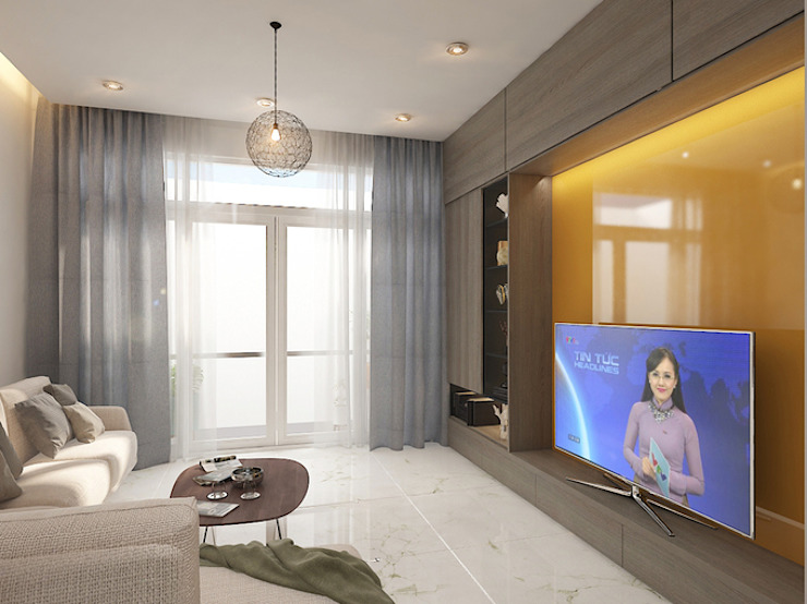 Phòng sinh hoạt chung thư giãn, yên bình bởi Công ty TNHH Xây Dựng TM – DV Song Phát Hiện đại