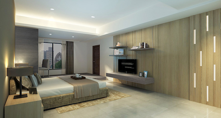 project-3002 Modern Bedroom by YU SPACE DESIGN Modern Solid Wood Multicolored