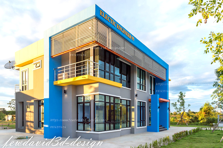 โฮมออฟฟิศ อ.บ้านค่าย จ.ระยอง บ.อิเลคทริค เอ็นจิเนียริ่ง99 โดย fewdavid3d-design โมเดิร์น