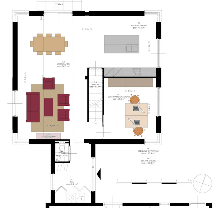 Indelingsplattegrond hooibergwoning van JWG Architecten