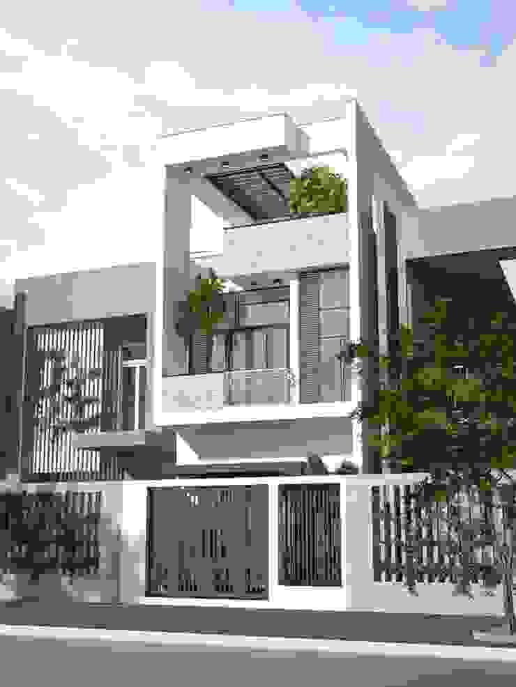 Mặt tiền ngôi nhà phố 2 tầng 5x20m bởi Công ty TNHH TK XD Song Phát Châu Á Đồng / Đồng / Đồng thau