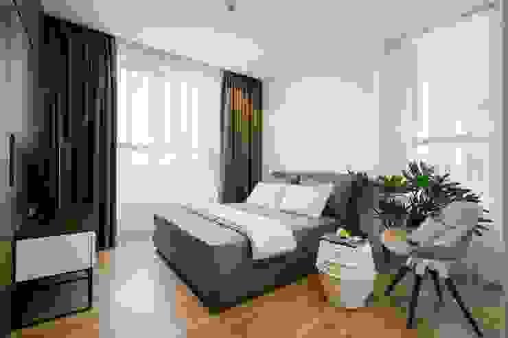 Bản thân không gian kiến trúc tương tác chặt chẽ với người sử dụng. Phòng ngủ phong cách châu Á bởi Công ty TNHH TK XD Song Phát Châu Á Đồng / Đồng / Đồng thau