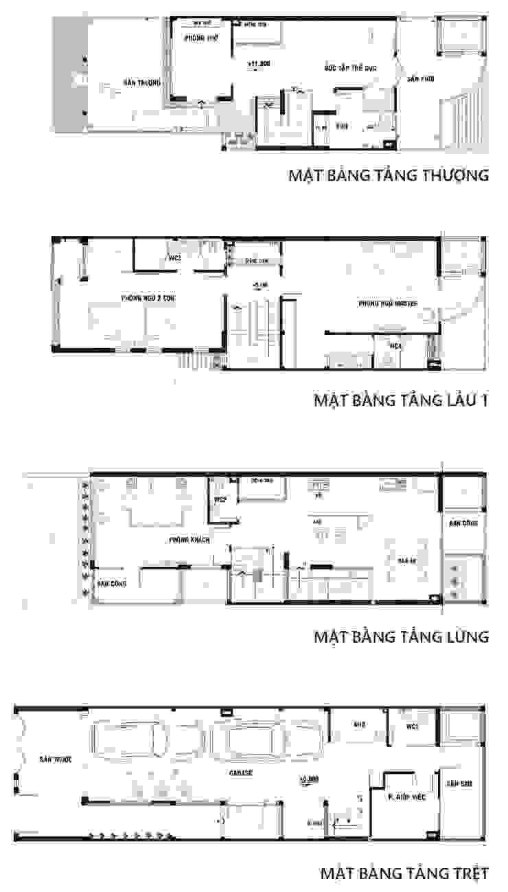 Bản vẽ mặt bằng ngôi nhà phố 3 tầng với giếng trời. Nhà phong cách châu Á bởi Công ty TNHH TK XD Song Phát Châu Á Đồng / Đồng / Đồng thau
