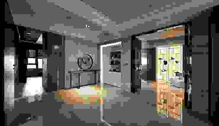辰林設計 Modern corridor, hallway & stairs Brown
